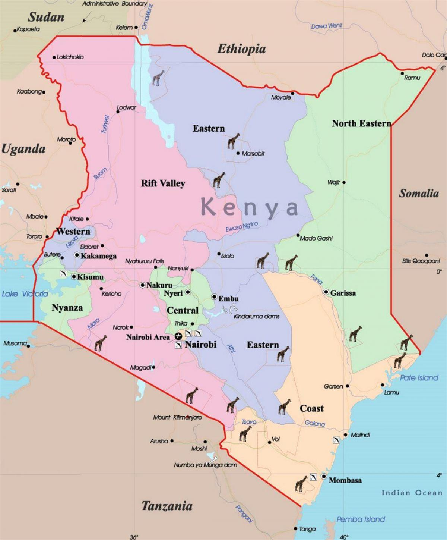Podrobna Mapa Keni Velka Mapa Keni Vychodni Afrika Afrika